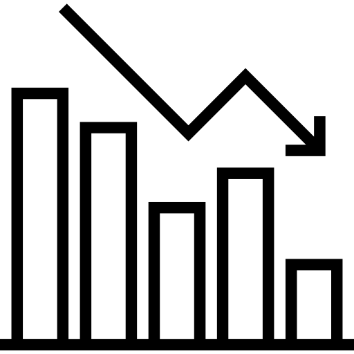 icon of bar graph with decreasing bars and arrow