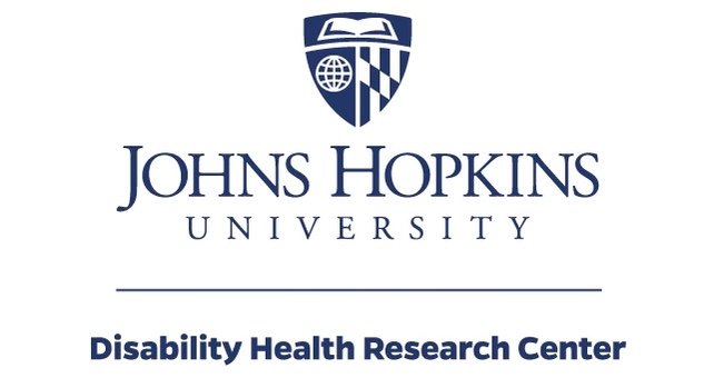 "Johns Hopkins University shield above text reading ""Johns Hopkins Disability Health Research Center"" in dark blue"