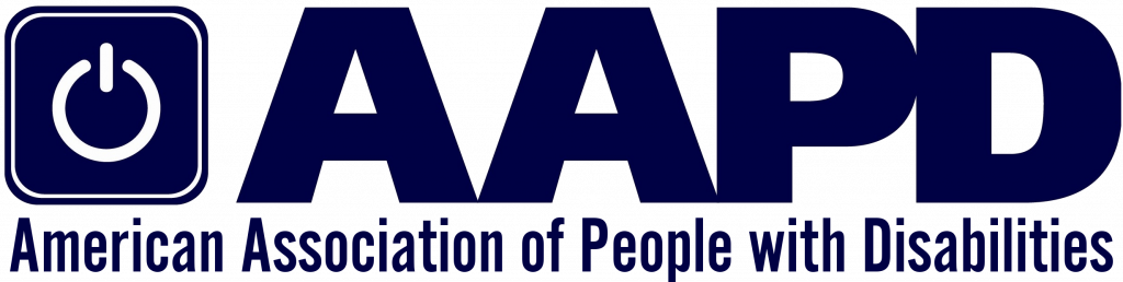 The logo says AAPD in large dark blue letters, and on the left is a white power-on symbol in a dark blue box. Below is smaller dark blue text saying, American Association of People with Disabilities.