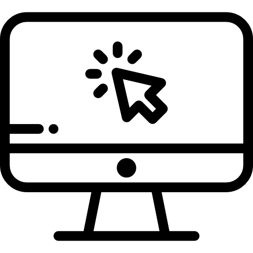 black-and-white simplified icon of a computer monitor with a mouse clicking