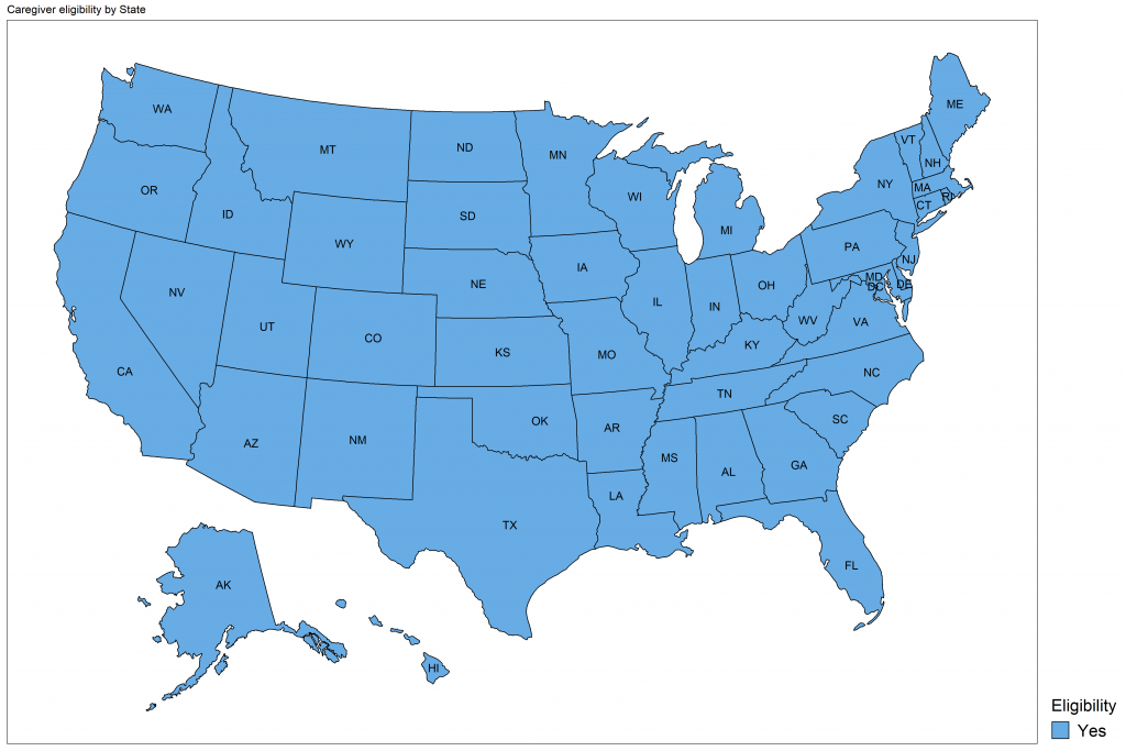 A US map showing the 50 US states and District of Columbia. States are shaded in blue to denote that they are currently vaccinating this group, and this week, all states are shaded.