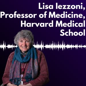 """Graphic with a dark purple background and white text reading """"Lisa Iezzoni, Professor of Medicine, Harvard Medical School"""" alongside a headshot of Dr. Lisa Iezzoni ."""